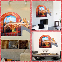 Wholesale Large PVC Giraffe D Wall Sticker Living Room Animal Poster Decorative Wall Decals Home Decoration Wall Art Removable D Wallpaper Cheap