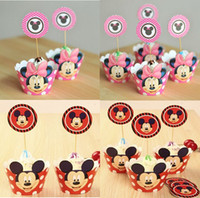 Wholesale 120pcs Mix Minnie Mickey cupcake cases cartoon cupcake wrappers toppers picks decoration birthday party favors supplies