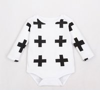 Cheap 2015 Autumn Nununu Cross Toddler Infants Bodysuits Rompers Baby Boys Girls One-Piece Long Sleeve Climbing Clothing White 70-95cm K4690