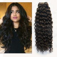 En bruto armadura india del pelo rizado profundo de la onda 3 PC Virgen india paquetes de pelo 5A humano indio de la onda profunda del pelo