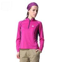 running wear - Outdoor Women Mandarin Collar Quick Dry Long Sleeves Breathable Zipper T Shirt Hiking Running Jogging Clothing Autumn Summer Fitness Wears