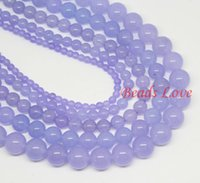 Wholesale mm Violet Jade Round Loose Stone Beads AAA quot strand Pick Size F00019