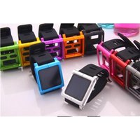 Cheap Top Quality Strap For iPod For iPod Nano 6 6G Metal Aluminum+Silicone Wrist Watch Band Cover Case With Retail Package 9 Colors