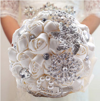 wedding supplies - 2015 Hot Sale Wedding Bridal Bouquets with Handmade Flowers Peals Crystal Rhinestone Rose Wedding Supplies Bride Holding Brooch Bouquet