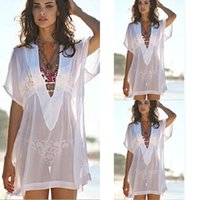 bathing suit shorts women - 2015 sexy fashion Women Bathing Suit Chiffon Bikini Cover Up Swimwear Summer short sleeve Beach Dress