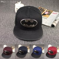 truck caps - summer brand leather brim sun truck hat iron Batman hiphop baseball cap mesh cap visor casual bone snapback gorras for women men