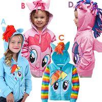 Cheap Wholesale -- My little pony girl children zipper hooded Outwear children outerwear kids long sleeve hoody fleece kid clothing.