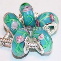 Wholesale 50Pcs Murano Glass bead Charms For Pandora bracelets for women jewelry Blue Pink flower lampwork murano glass beads European Charm B1396