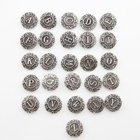 Wholesale 2016 NEW New Styles mm Metal Alphabet Ginger Snap Buttons Ginger Snaps Jewelry Mixed