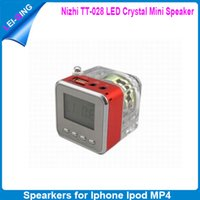Wholesale Fashion Acrylic Shell Mini Speaker Diigital Screen Changing Colors LED FM Radio with Double Atenna TT028