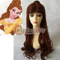 beast wig - Princess Beauty And The Beast Belle Wig Synthetic Long Curly Brown Anime Cosplay Wig
