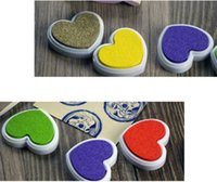 Wholesale Finger Paint Colors Heart Shape Inkpad Colorful Cartoon Inkpad Ink Stamp Ink Pad set for DIY funny Work Scrapbooking Album