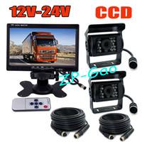 Wholesale 12V V Pin quot LCD Monitor Bus Truck Rear View Kit x CCD IR Car Reverse Camera Waterproof