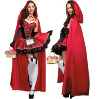 adult fairy tales - 2016 New Sexy Adult Women blended Little Red Riding Hood cloak queen fitted Fairy Tales Halloween Costume