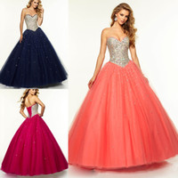 ballgown prom dresses - 2015 Ball Gown Prom Dresses Sweetheart With Shining Crystal Satin Ombre Beaded Bodice with Ruffled Tulle Ballgown Evening Party Dresses