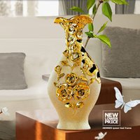 abstract ceramics - High quality Jingdezhen Ceramic gold plating vase for home decor abstract morden Euro style tabletop decoration gifts for marrige free shipp
