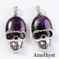 agate skull crystal - Charm Red Agate Turquoise Aventurine Amethyst etc Natural Stone Oval Bead Skull Pendant Accessories Silver Plated Fashion Jewelry