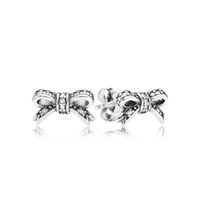 wholesale bulk jewelry - 2015 authentic Sterling silver Delicate Bow Stud Earrings fit European uk pandora style bulk jewelry for No80 ER115