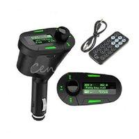 Wholesale Universal mm Stereo Car Kit Auto Socket In Car Green LCD FM Transmitter Radio Modulator Remote Control USB MMC TF LCD