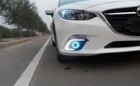 Wholesale For mazda axela Car led DRL COB angel eye projector lens halogen fog lamp Daytime Running Lights