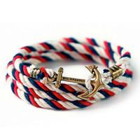 anchor sterling silver - Fashion Jewelry Vintage Alloy Anchor Hooks Cotton Wrap Rope Bracelet Men Bracelet for Women Men friendship Nautical Anchor Bracelet Bangle