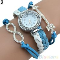 arrow auto glass - Retro Womens Punk Crystal Dial Arrow Charm Leather Band Watch WristWatches TY9