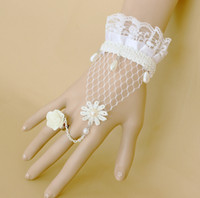 Wholesale Wedding Bridal Party Prom Jewelry Elegant In Stock Lace Flower Pearl Jewelry Retro Bracelet with Ring J341