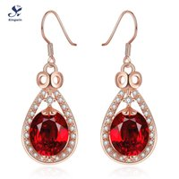 Wholesale Italy designer new collection ruby red earring rose gold plated lab diamond fashion jewelry accessories for girls friends gift