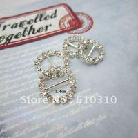 Wholesale High quality mm inner bar shiny circle shape small rhinestone ribbon slider in silver wedding buckle
