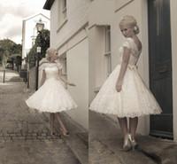 Wholesale Vintage Knee Length Wedding Dresses Short Sleeve Capped Applique Lace Wedding Dress Sheer High Neck A Line Bridal Gowns Simple CGL05