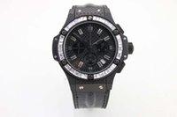 big pink diamond - high quality top brand watches men new hub Big Bang white diamonds bezel black leather belts watch quartz chronograph watch men wristwatches