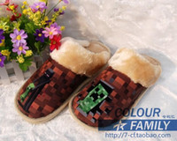 Wholesale 5 styles Minecraft warm shoes winter House Slippers men and women plush Cotton slippers K122F1