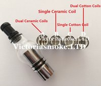 glass globe atomizer - Glass Globe Atomizer Glass Globe Tank Wax And Herb Vaporizer Dual coil Replacement Ceramic Cotton Coils Glass Atomizer Wax Glass Aomizer