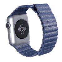 adjustable strap clasp - Watchbands for Apple watch Original Design bracelet Leather Loop strap Adjustable Magnetic Closure watchband For iwatch with adapter