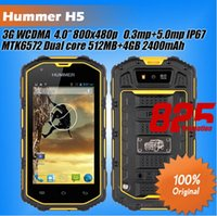h5 phone - Hummer H5 Waterproof IP68 Smart phone inch screen android dual core MTK6572A M G dual card dual standby phone