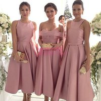 alternative modelling - Tea Length Blush Pink Bridesmaid Dresses For Weddings Hot Sale Cheap Alternative Custom Made Satin Bridal Party Gowns Maid of Honor