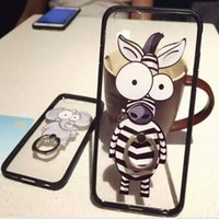 bag elephant - Case For Iphone s plus cartoon zebra elephant PMMA transparent ring buckles cell phone cases phone protection creative case OPP bag