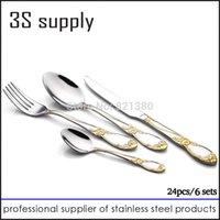 Wholesale Stainless steel Flatware sets dinning fork dinner spoon coffee spoon dinner knife cutlery set tableware