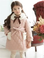 Wholesale Direct Girl Winter Long Section Of Small Children s Clothing Children Cotton Jacket Korean Children Padded Thick Fur Collar