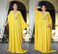 Cheap 2015 Yellow Nisrine v neck Arabic kaftan Formal Evening Dresses Long Sleeve Abaya in Dubai Vestidos Hot Fashion Crystal Beaded Prom Dress