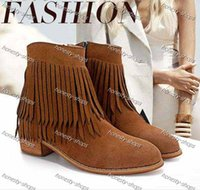 Wholesale Brand New brown black low heel fringe shoes tassles boots squared heels nubuck leather ankle boots women winter shoes Size to