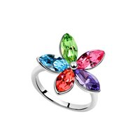 bay ladies fashion - Crystal Ring Bay flowers Ladies Ring Ladies fashion accessories Beautiful fashion diamond ring10pcs