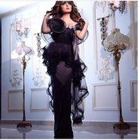 peplum - 2015 New Style Black Evening Dresses Aijiayi Long Prom Dresses Party Dress with Peplum Ruffle Short Sleeves Floor Length Saudi