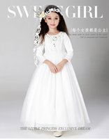 Cheap 2015 kids wedding dresses, Pageant Party Dresses girl, performance shows dress, baby girl lace cheap wedding dresses made in China