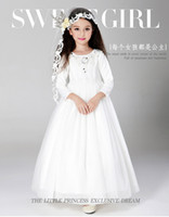 Cheap 2017 kids wedding dresses, Pageant Party Dresses girl, performance shows dress, baby girl lace cheap wedding dresses made in China.