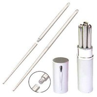 aluminum chopsticks - Aluminum Pen Shape Shell Stainless Steel Folding Travel Chopsticks Silver