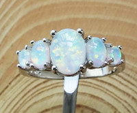 Wholesale Nice White Fire Opal Rings For Anniversary