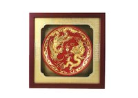 ceramic crafts - Upscale art crafts high end gift paint line carve longfeng red glaze ceramic plates furnishing articles