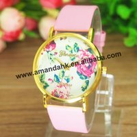 Wholesale pc New Fashion Leather Geneva Rose Flower Watch For Women Dress Watch Brand Vintage Women s Leather Wrist Watches