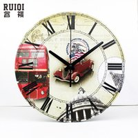 antique american cars - locks Wall Clocks antique car home decor wall clocks sweep clock movement silent round large decorative wall clock Living Room Wall Clock
